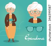 old lady. grandma. vector... | Shutterstock .eps vector #346599587