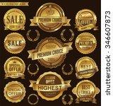 golden retro badges and labels... | Shutterstock .eps vector #346607873