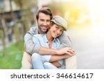 portrait of in love young... | Shutterstock . vector #346614617