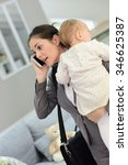 busy businesswoman talking on... | Shutterstock . vector #346625387