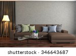 interior with sofa. 3d... | Shutterstock . vector #346643687