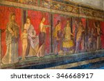 Small photo of Painted wall in Pompeii city destroyed in 79BC by the eruption of Mount Vesuvius