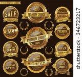 golden retro badges and labels... | Shutterstock .eps vector #346723217