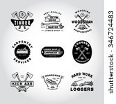 76 set of badge lumber... | Shutterstock .eps vector #346724483
