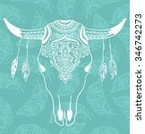 cow skull with feathers... | Shutterstock .eps vector #346742273