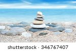 Tower Of Stones On Sea Beach...
