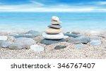 Tower Of Stones On Sea Beach...