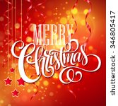 christmas text design on red... | Shutterstock . vector #346805417
