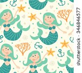 seamless pattern with mermaids. | Shutterstock .eps vector #346846577
