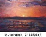 Original Oil Painting.sunset...