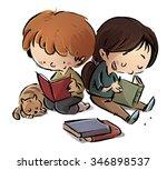 children reading books   Shutterstock . vector #346898537