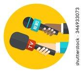hands with microphones flat...   Shutterstock .eps vector #346933073