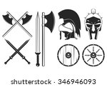 gladiator weapon set. axe ... | Shutterstock .eps vector #346946093