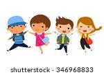 students jumping   vector | Shutterstock .eps vector #346968833