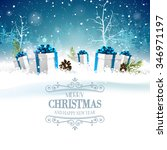 christmas greeting card with... | Shutterstock .eps vector #346971197