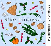 hand drawn christmas cookies in ... | Shutterstock .eps vector #346985783