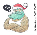 cool art of tattooed santa... | Shutterstock .eps vector #346990457
