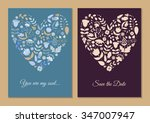 cute vintage floral cards set.... | Shutterstock .eps vector #347007947
