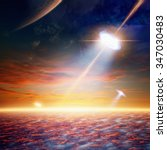 Small photo of Fantastic background - alien spaceship shines spotlight, aliens invasion. Elements of this image furnished by NASA nasa.gov