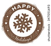 merry christmas vintage holiday ... | Shutterstock .eps vector #347051693