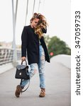 beautiful girl standing on the... | Shutterstock . vector #347059733