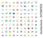 fishing 100 icons set for web... | Shutterstock . vector #347089553