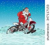 santa on a motorcycle is racing ... | Shutterstock .eps vector #347117153