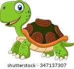 Cartoon Funny Turtle Isolated...