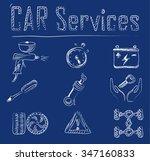 car service doodles icon set