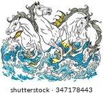 four mythological sea horses  | Shutterstock .eps vector #347178443