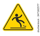 wet floor sign  yellow triangle ... | Shutterstock .eps vector #347182577