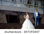 wedding couple on the nature is ... | Shutterstock . vector #347193347