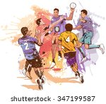 handball attack | Shutterstock .eps vector #347199587