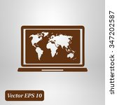 laptop and world map...   Shutterstock .eps vector #347202587