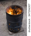 Oil Drum Fire To Keep Warm