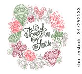 perfect hand drawn floral... | Shutterstock .eps vector #347292533