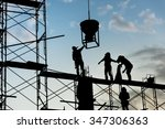 silhouette of worker.... | Shutterstock . vector #347306363