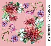 burgundy dahlia  corner ...   Shutterstock . vector #347318303