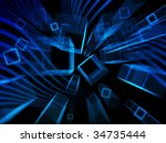 blue geometric abstract cubic... | Shutterstock . vector #34735444