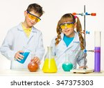 two cute children at chemistry... | Shutterstock . vector #347375303