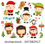 cute kids in christmas costume | Shutterstock .eps vector #347382917