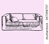 Sofa And Pillow  Doodle Style ...