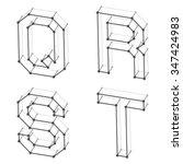vector wireframe font alphabet... | Shutterstock .eps vector #347424983