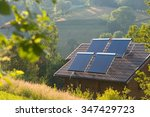 solar panels on the roof of... | Shutterstock . vector #347429723