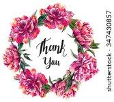 round wreath of pink peony... | Shutterstock . vector #347430857