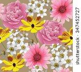 abstract flower seamless...   Shutterstock .eps vector #347452727
