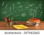 wooden school desk with stuff... | Shutterstock . vector #347462663