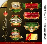 christmas labels with lovely... | Shutterstock .eps vector #347481383
