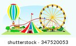 amusement park in the open air  ... | Shutterstock .eps vector #347520053