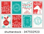 set of christmas cards with... | Shutterstock .eps vector #347532923